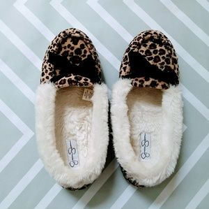 Jessica Simpson faux fur animal print sleepers